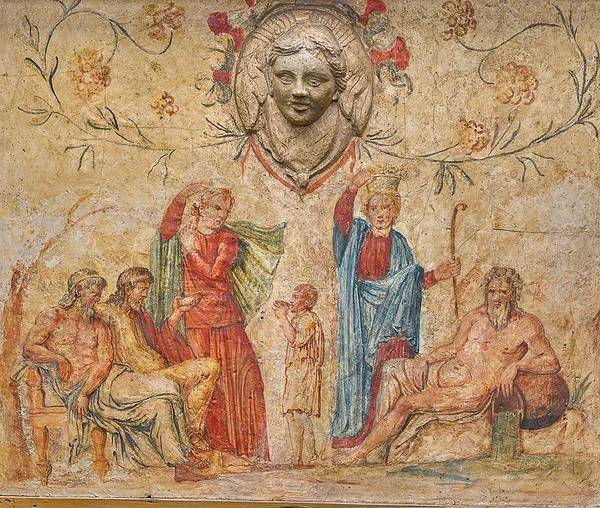 Wall Art - Painting - A Roman Wall Painting Fragment On Stucco, Circa 2nd Century A.d With Early 18th Century Italian Re by Celestial Images