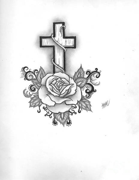 Drawing - A Rose And A Cross by Marissa McAlister