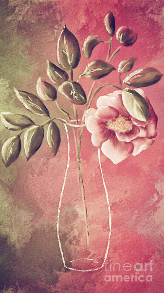 Digital Art - A Rose In A Vase by Lois Bryan