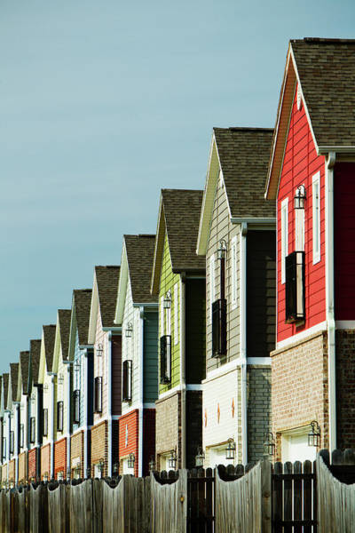 Fayetteville Photograph - A Row Of Colorful Suburban Homes by Wesley Hitt