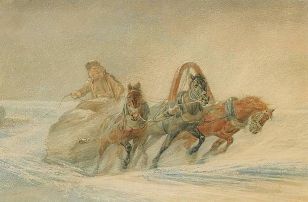 Wall Art - Painting - A Russian Troika In The Snow by Rudolf Frenz