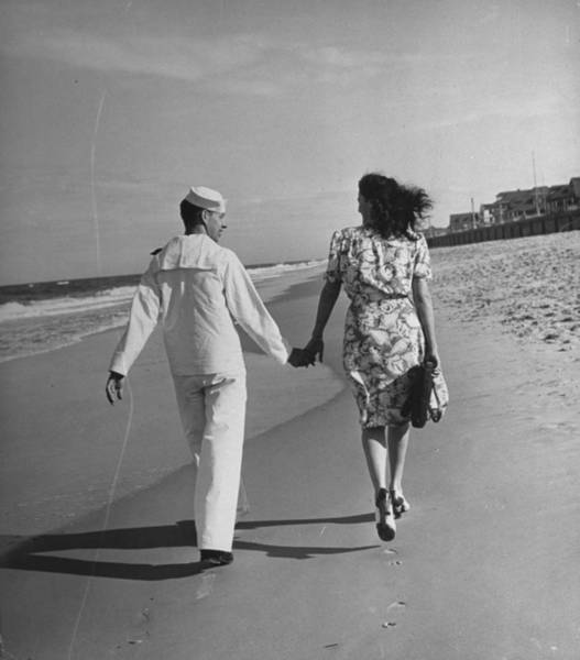 Usa Navy Photograph - A Sailor And His Date Taking A Walk Alon by William C. Shrout