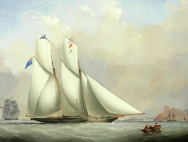 Wall Art - Painting - A Schooner Of The Royal Western Yacht Club And A Norwegian Ship In A Storm by Nicholas Matthew Condy