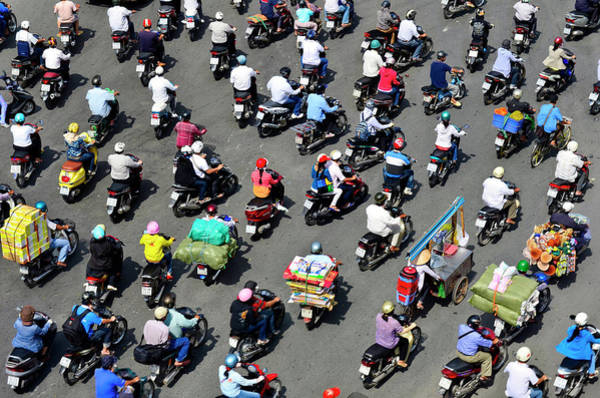 Rush Hour Photograph - A Sea Of Mopeds During Rush Hour In by Rwp Uk