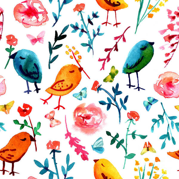 Quirky Wall Art - Digital Art - A Seamless Background Pattern With by Plateresca