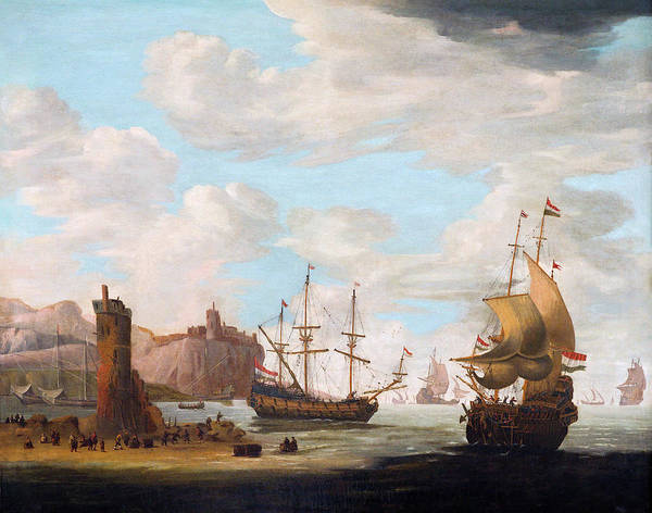 Painting - A Seascape With Tall Ships by Attributed to Adam Silo