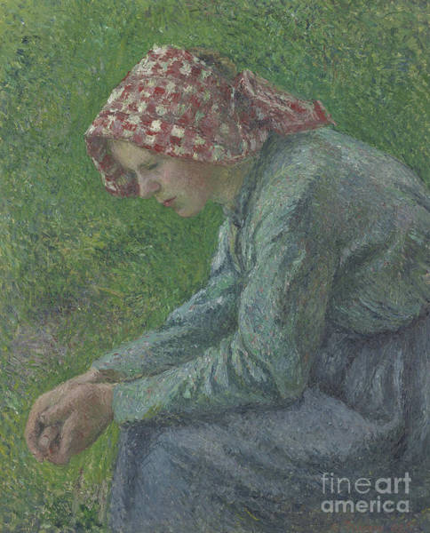 Wall Art - Painting - A Seated Peasant Woman, 1885 by Camille Pissarro
