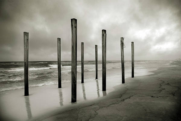 Destin Photograph - A Sepia Toned Shot Of Old Beach Posts by Chris Ross