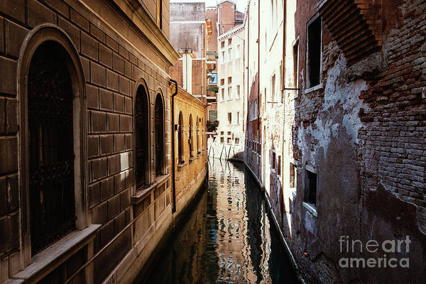 Photograph - A Shadow In The Venetian Noon Narrow Canal by Marina Usmanskaya