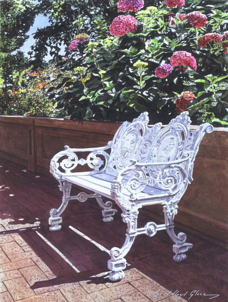 Painting - A Shady Rest With Hydrangeas by David Lloyd Glover