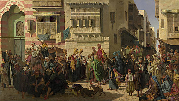 Pilgrimage Painting - A Sheikh And His Son Entering Cairo On Their Return From A Pilgrimage To Mecca, 1874 by Robert Dowling