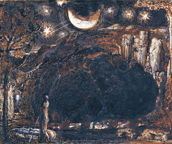 Wall Art - Painting - A Shepherd And His Flock Under The Moon And Stars - Digital Remastered Edition by Samuel Palmer