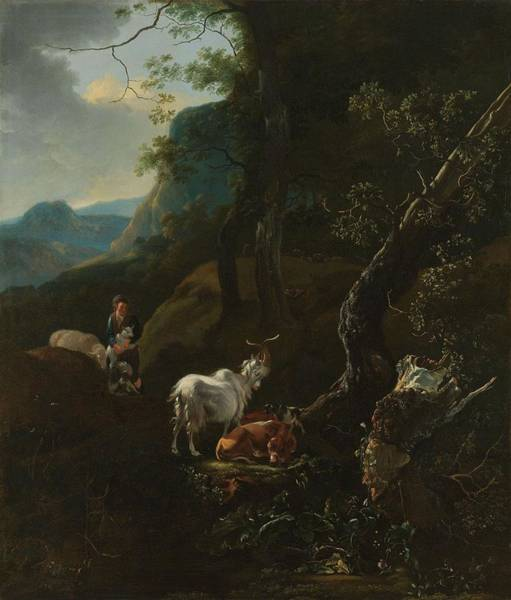 Wall Art - Painting - A Sherpherdess With Animals In A Mountainous Landscape, Adam Pijnacker, 1649 - 1673 by Adam Pijnacker