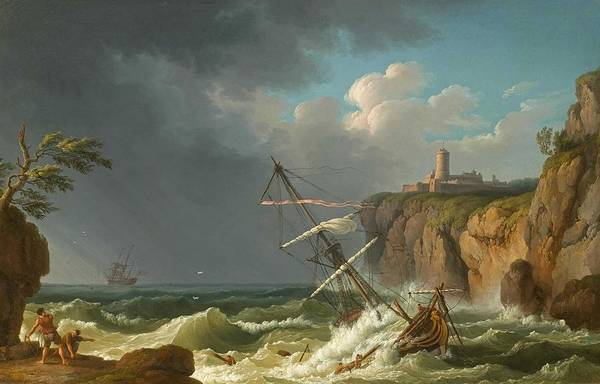 Wall Art - Painting - A Shipwreck By Jacob Philipp Hackert, 1776 by Celestial Images