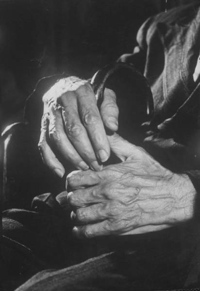 Adult Male Photograph - A Shot Of Hands Belonging To An Old Man by Carl Mydans