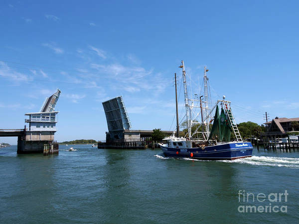 Wall Art - Photograph - A Shrimp Trawler Passes The Open Wrightsville Beach Bridge by Louise Heusinkveld