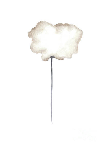 Wall Art - Painting - A Single Centred Sepia Cloud Poppy  by Joanna Szmerdt