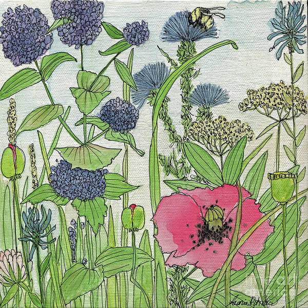 Painting -  A Single Poppy Wildflowers Garden Flowers by Laurie Rohner