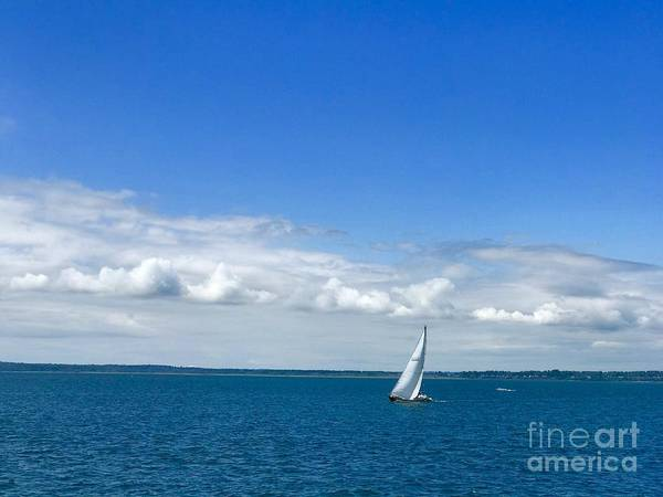 Photograph - A Single Sailboat In Blue by Suzanne Lorenz