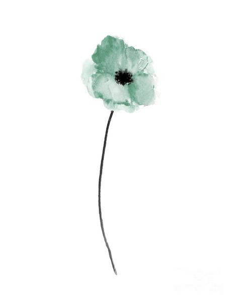 Full Bloom Painting - A Single Sea Green Poppy by Joanna Szmerdt