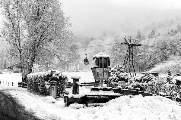 Photograph - A Ski Lift In The Alps At Berchtesgaden by John Rizzuto