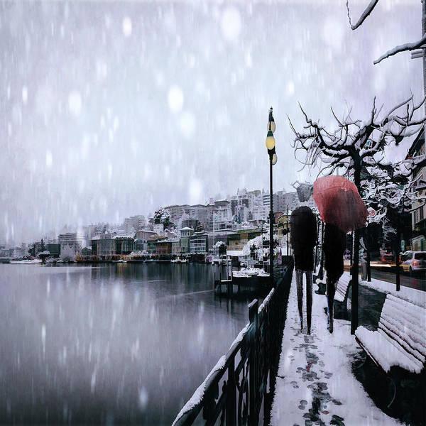 Park Bench Digital Art - A Snowy Walk by Tim Palmer