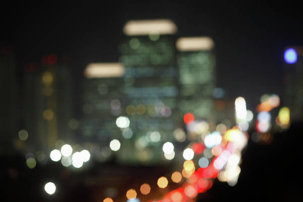 Jakarta Photograph - A Soft Focus View Of Jakarta At Night by Marc Volk