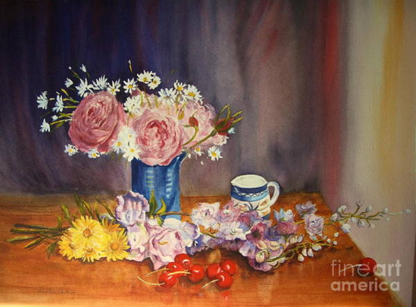 Painting - A Splash Of Blue, Watercolour Floral by Beatrice Cloake