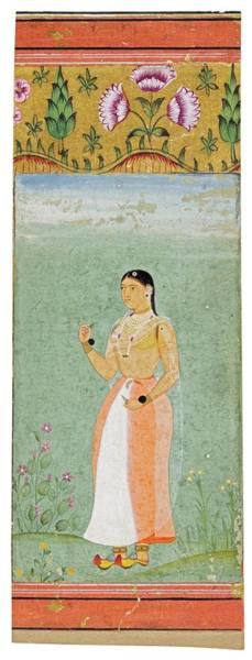 Wall Art - Painting - A Standing Figure In A Landscape, India, Mughal, Circa 1600 by Celestial Images