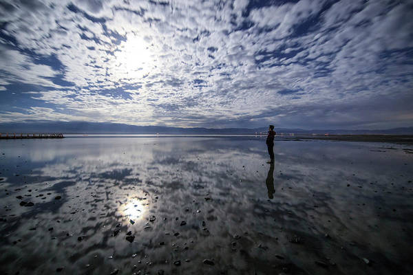 Photograph - A Stargazer Standing In The Salt Lake by Jeff Dai