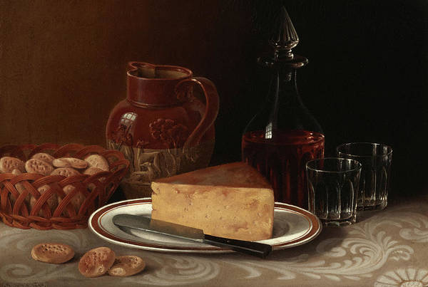 Payment Painting - A Still Life With Cognac, Pitcher, A Wedge Of Cheese And Biscuits by William Mason