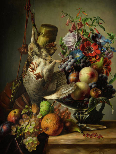 Wall Art - Painting - A Still Life With Game And Fruit On A Ledge by Johannes Reekers Junior