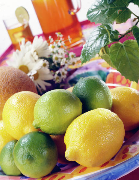 Lemon Photograph - A Summer Table Setting With Lemons And by Steve Wisbauer