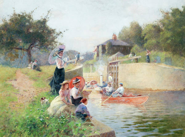 Waterway Painting - A Summer's Day, Marlow Lock by Hector Caffieri