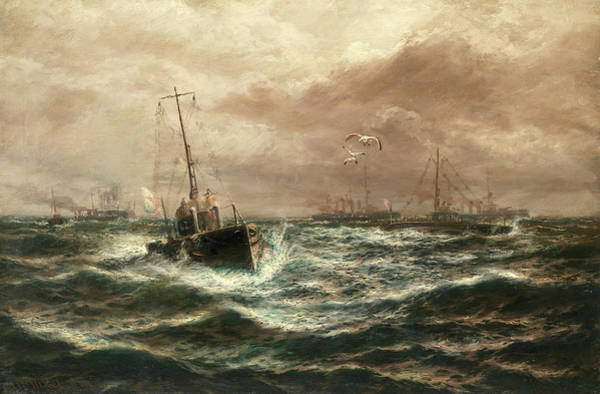 Wall Art - Painting - A Surface Run Of Submarines by Thomas Rose Miles
