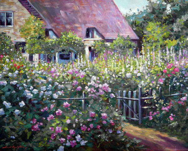 Painting - A Tangled English Summer Garden by David Lloyd Glover