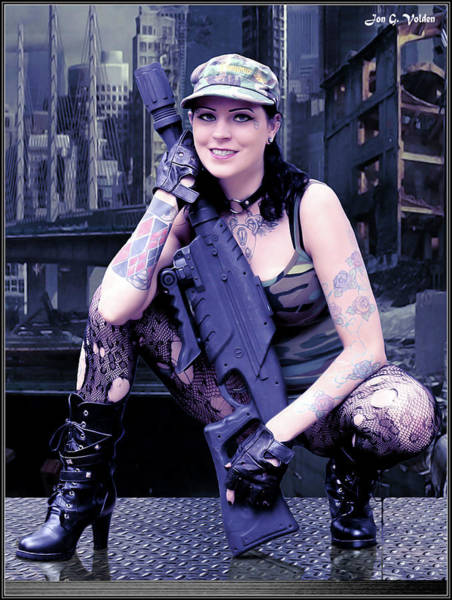Photograph - A Tanker Girl With A Gun by Jon Volden