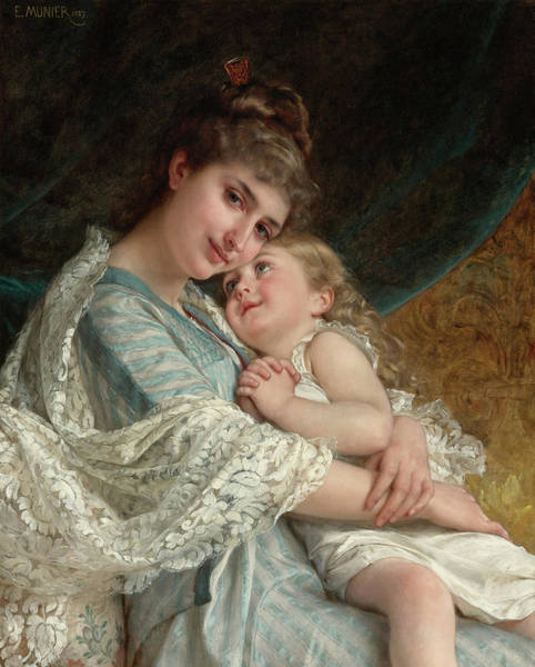 Wall Art - Painting - A Tender Embrace, 19th Century by Emile Munier