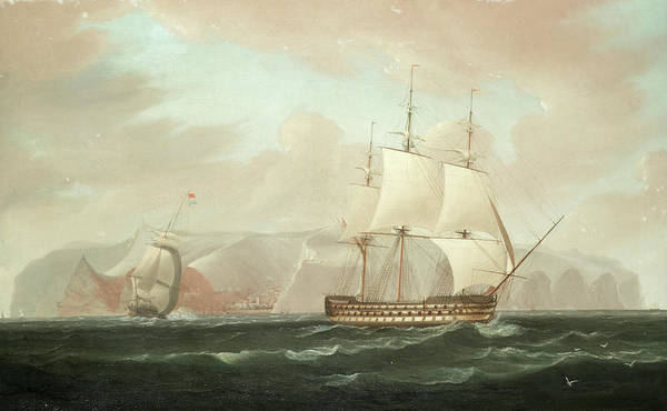 Deck Painting - A Three-decked Ship-of-the-line Bearing Away From Jamestown, St. Helena, With Her Escorting Frigate by William John Huggins