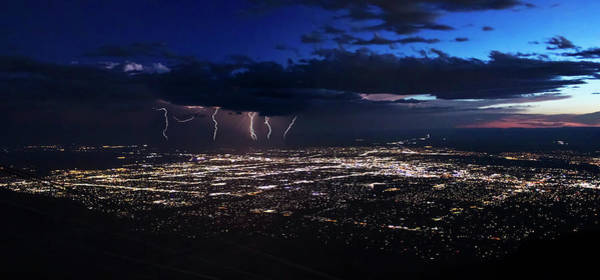 Wall Art - Photograph - A Thunderstorm After Dusk Over Albuquerque, New Mexico by Derrick Neill