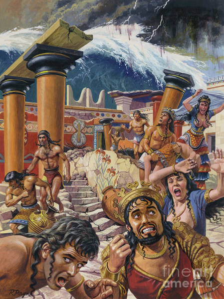 Tsunami Painting - A Tidal Wave Devastating A City In Crete by Roger Payne