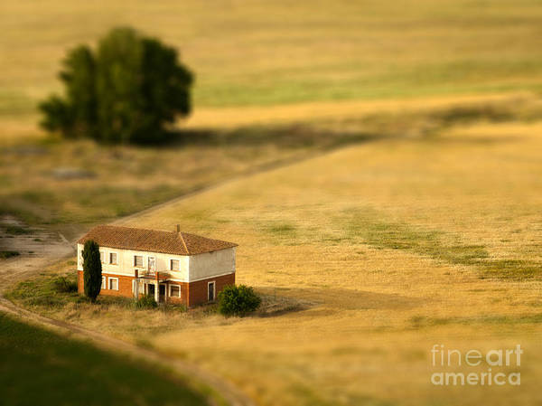 Farmhouse Wall Art - Photograph - A Tilt Shifted Country House On A by Ikerlaes