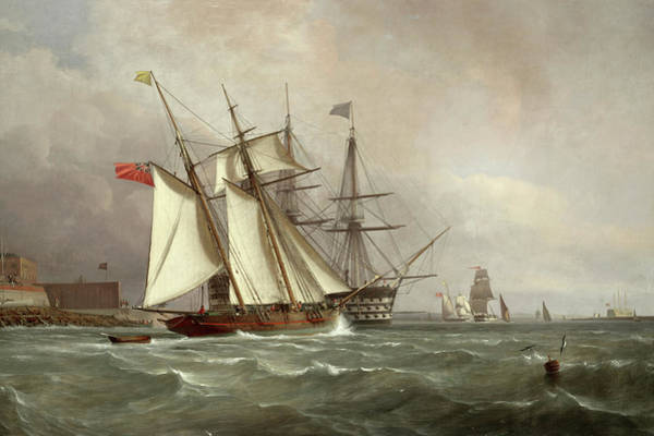 Wall Art - Painting - A Trading Schooner Overhauling A First Rate Off Garrison Point, Sheerness by Sir Oswald Walters Brierly