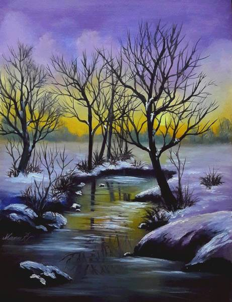 Painting - A Tranquil Winter Morning by Manar Hawsawi
