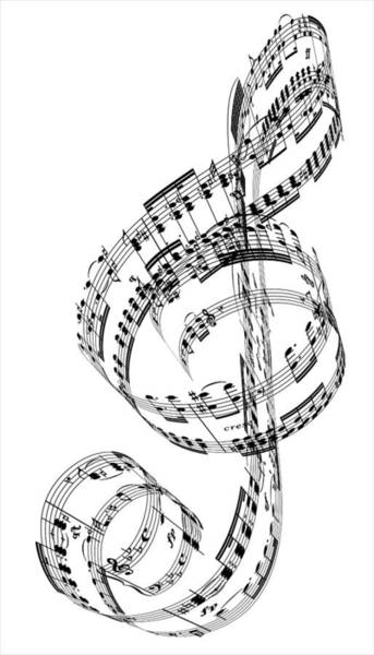 Vertical Digital Art - A Treble Clef Made From Beethovens by Ian Mckinnell