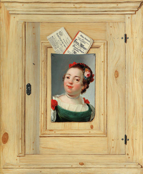 Wall Art - Painting - A Trompe-l'oeil Painting With The Portrait Of A Young Woman by Justus Juncker
