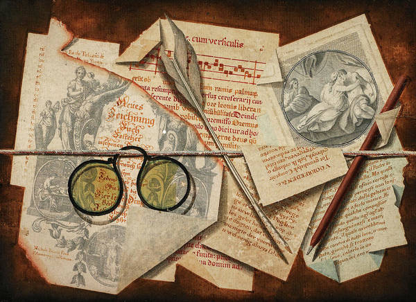 Pince Nez Painting - A Trompe L'oeil With Pince-nez, Pages From A Book And A Quill Pen by Michele Bracci