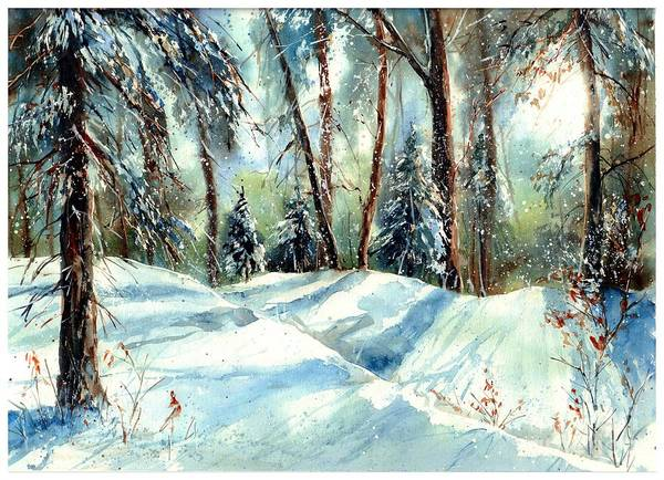 Birches Painting - A True Winter Wonderland by Suzann's Art