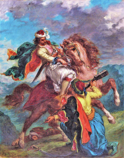 Wall Art - Painting - A Turk Surrenders To A Greek Horseman - Digital Remastered Edition by Eugene Delacroix