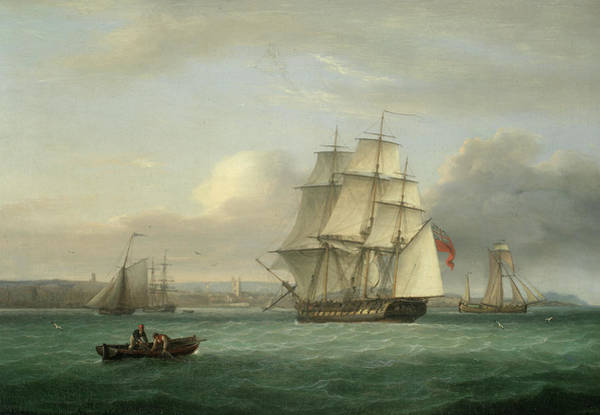 Wall Art - Painting - A Two-decker Off Teignmouth by Thomas Luny